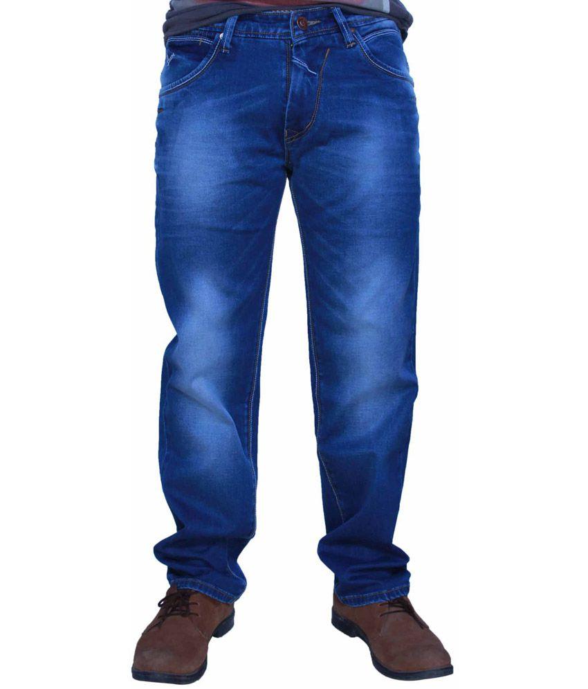 Vvolf Blue Cotton Blend Jeans For Men