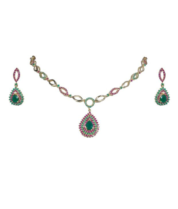 Karigari Fashions Gold Toned Necklace With Ruby Like Pink Stones