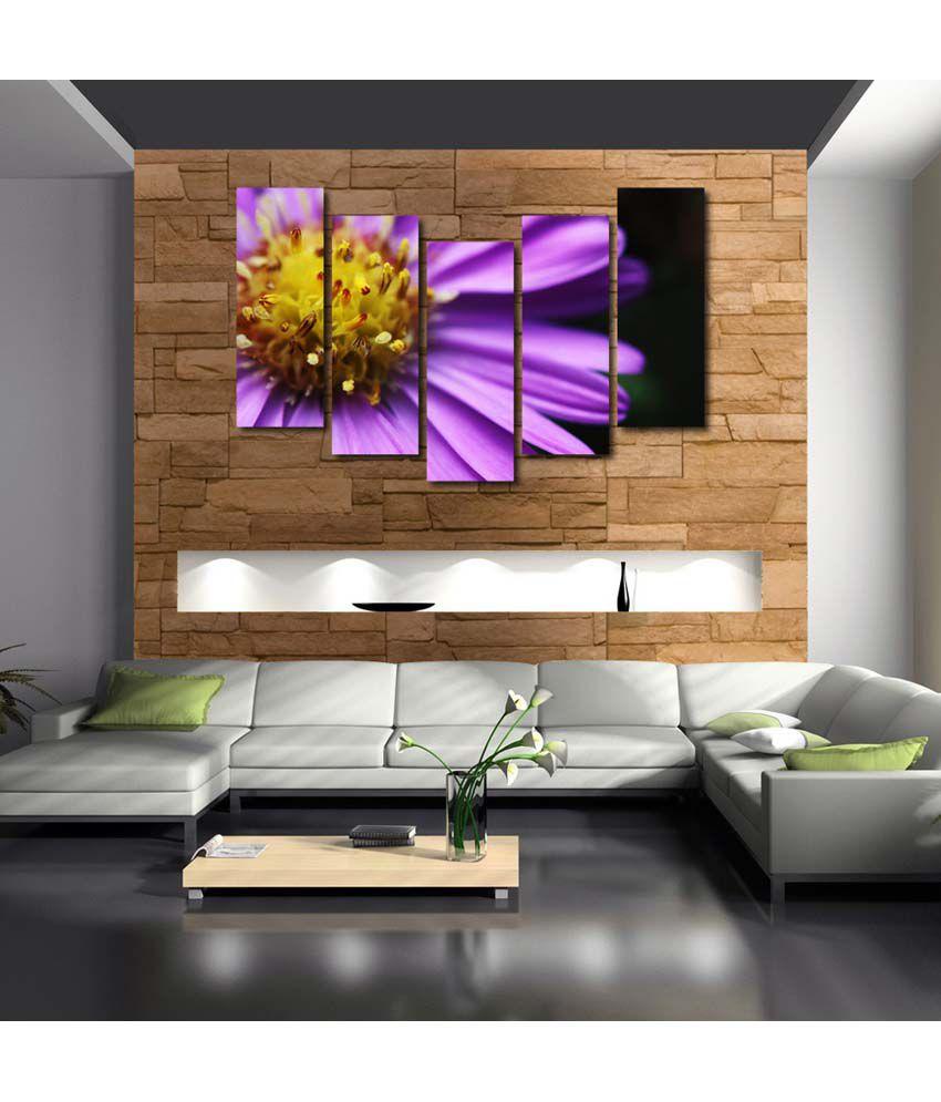 999store Multiple Frames Printed Purple Flower Like Modern Wall Art Painting - 5 Frames (148 X 76 Cms)