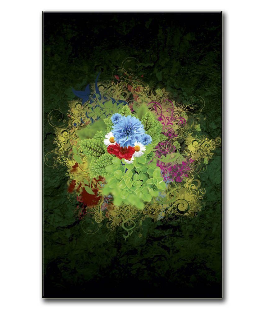 Anwesha's Gallery Wrapped Digitally Printed Canvas Wall Painting 12.5 X 20 Inch - Green Flower