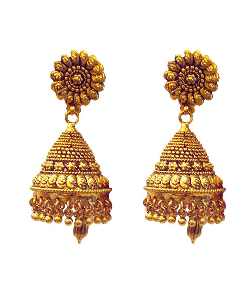 Simran Antique Gold Light Weight Jhumkas. - Buy Simran Antique ...