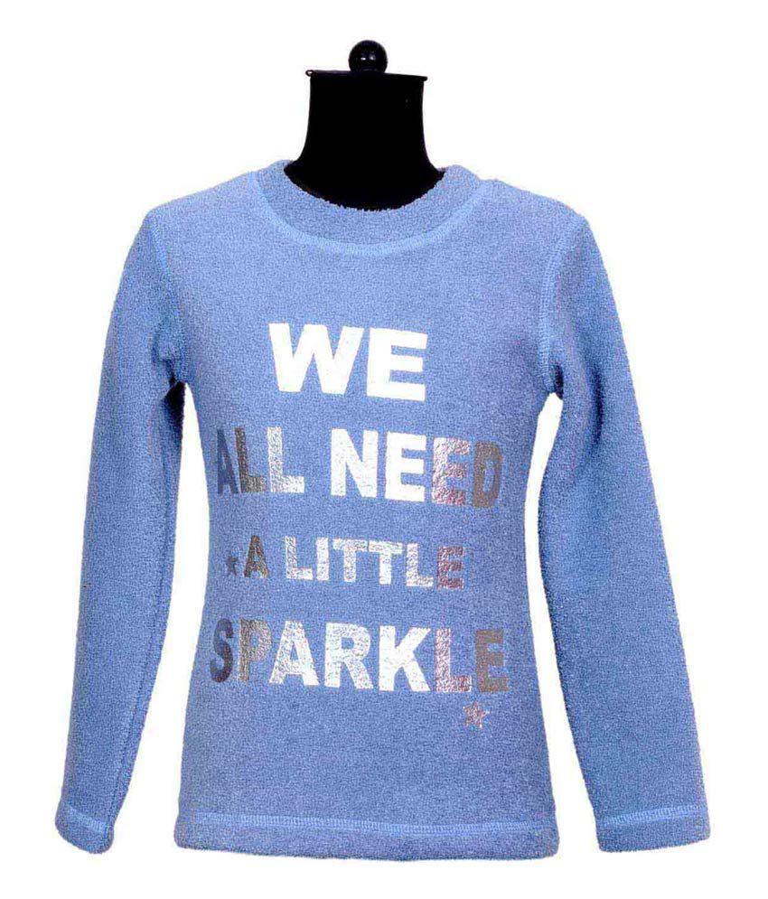 The World Long Sleeves Sky Blue Color Printed Sweatshirt For Kids