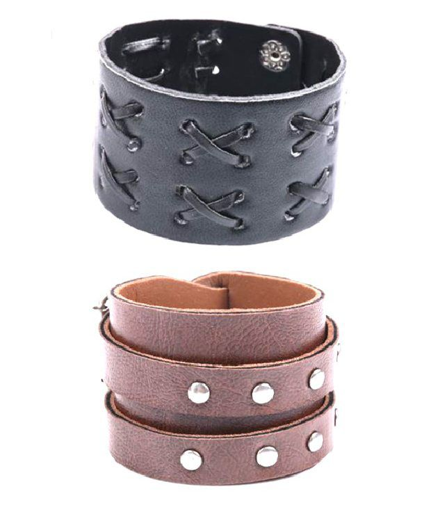Fashionable Combo of Criss Cross Black and Brown Stripped Bracelet Combo by GoldNera