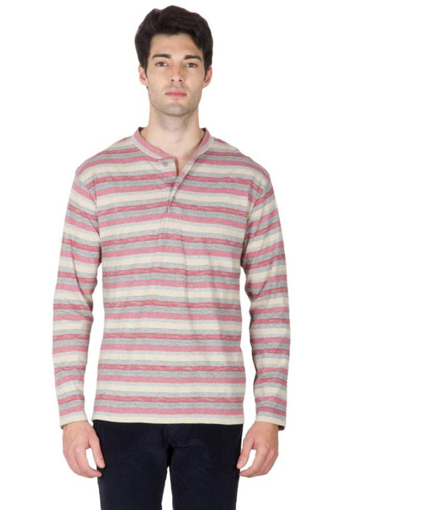 Hypernation Red and Grey Color Henley Neck Cotton Striped Full Sleeves T-shirts For Men