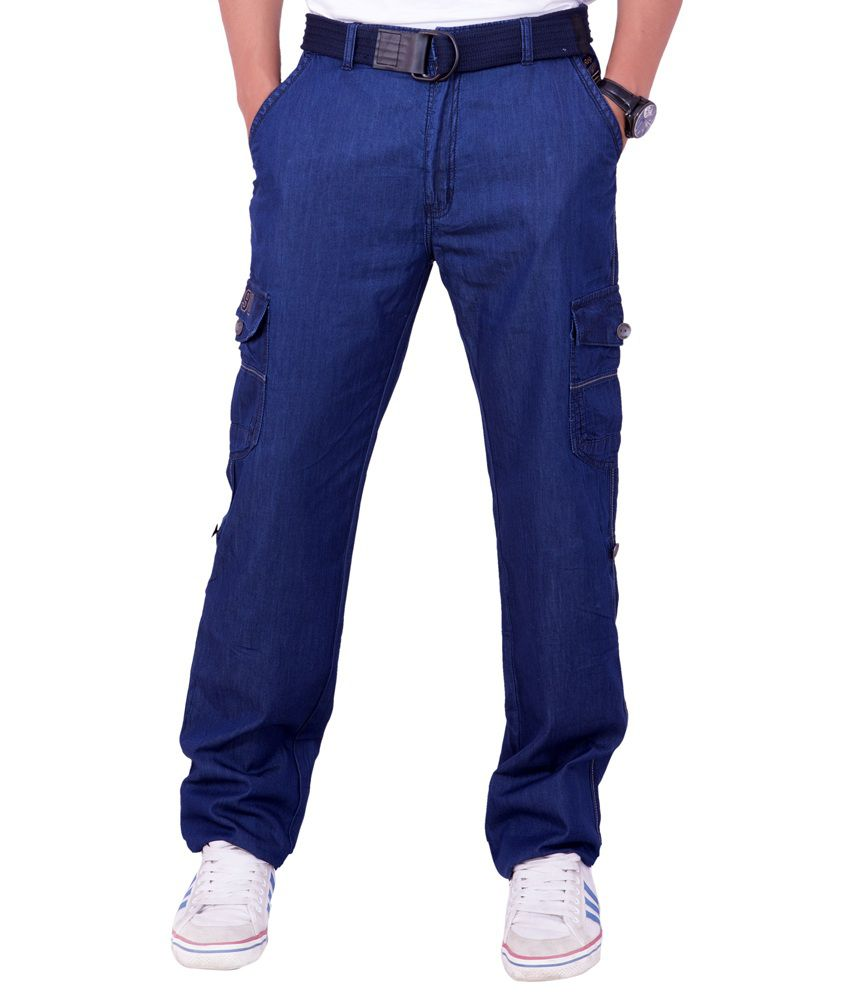 Origin Smart Dblue Casual Elastic Patterned Cotton Trouser With Belt For Men  -  Or9848Dblu