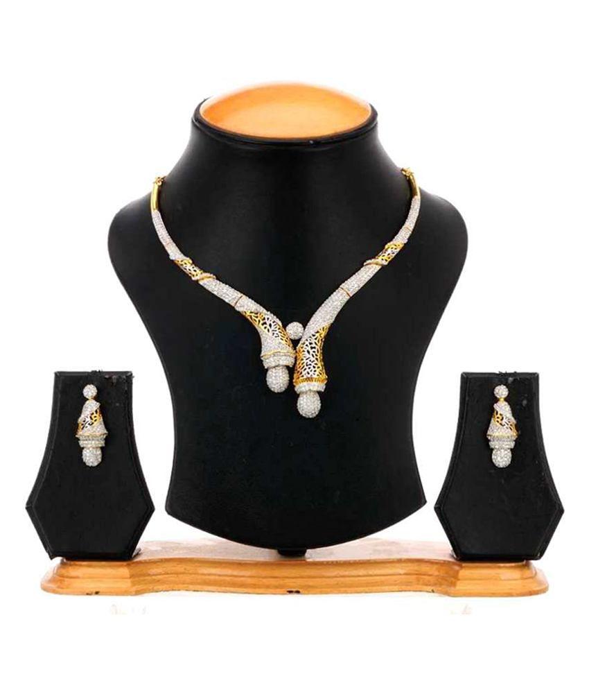 Zaveri Pearls Multicolour Traditional American Diamond Coloured Bead Necklace Set