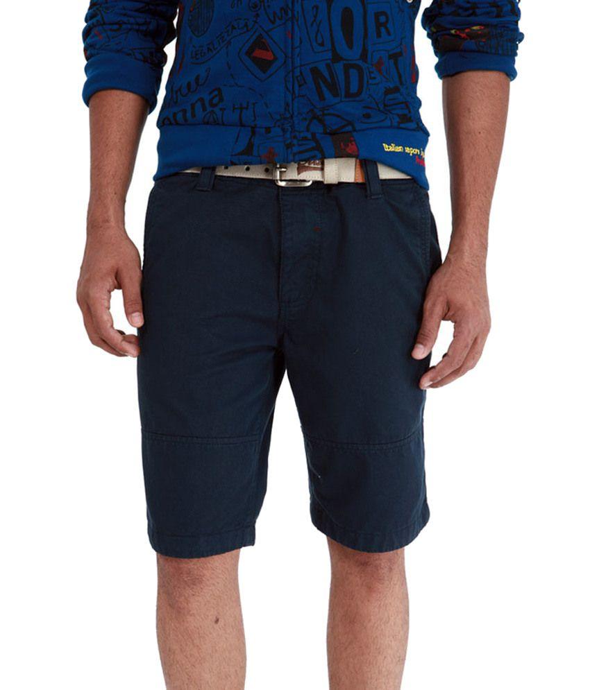 Basics Life Navy Cotton Solids Shorts