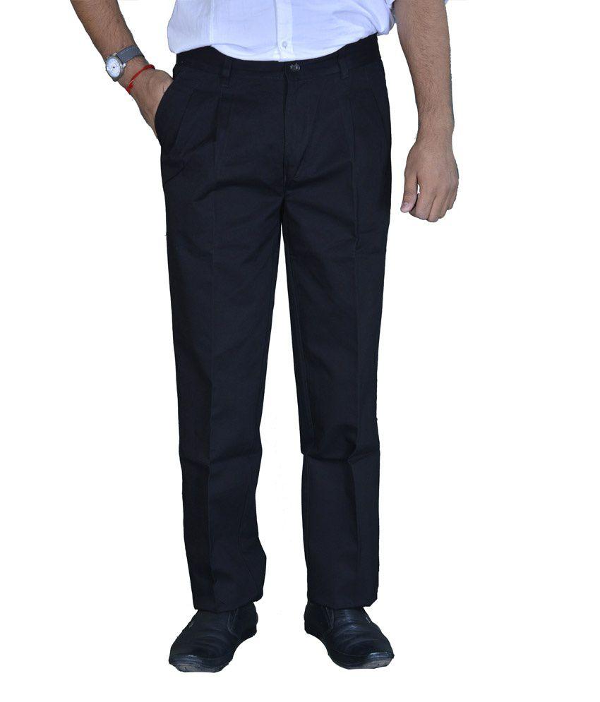 Studio Nexx Black Formal Cotton Men's Trouser
