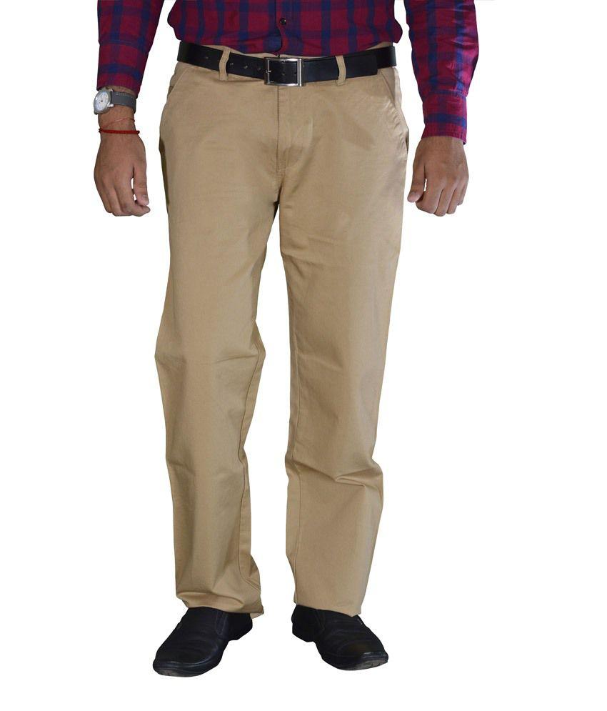 Studio Nexx Khaki Cotton Chinos Men's Trouser