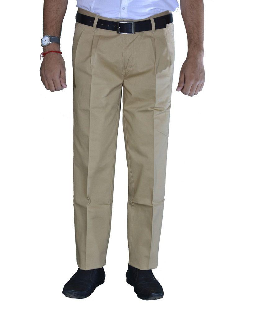 Studio Nexx Khaki Formal Cotton Men's Trouser