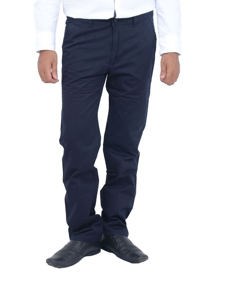 Studio Nexx Navy Blue Cotton Chinos Men's Trouser