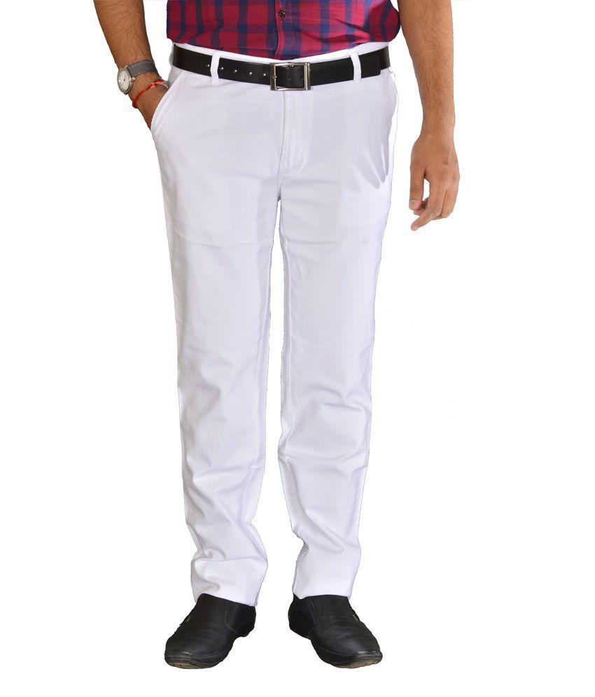 Studio Nexx White Cotton Men's Trouser