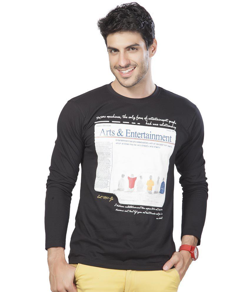 Alan Jones Clothing Printed Black Full Cotton T-shirt