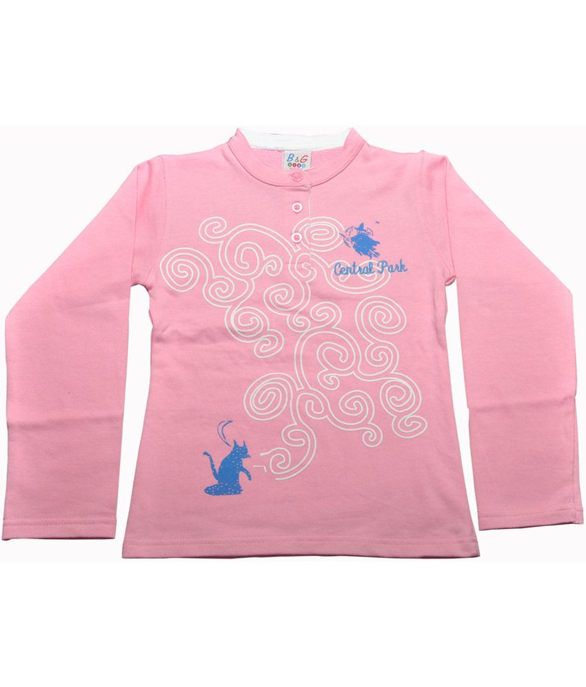 Bg Casual Pink Cotton Chinese Collar Central Park Girl's Full Sleeve Sweatshirt