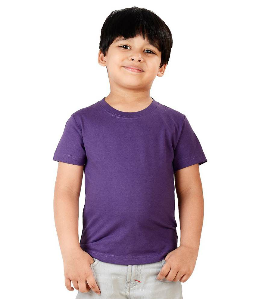 Neevov Purple Round Neck T-shirt Half Sleeve For Boys ...