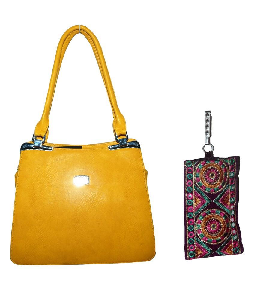 GRJ India Yellow Hand Bag With Ethnic Mobile Pouch