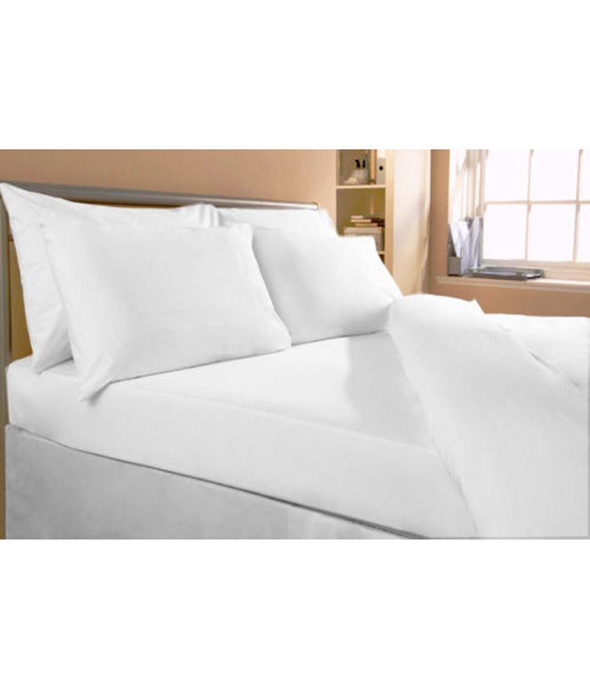 Bed sheets with price -  Bombay Dyeing White Premium Double Bed Sheet With 2 Pillow Covers