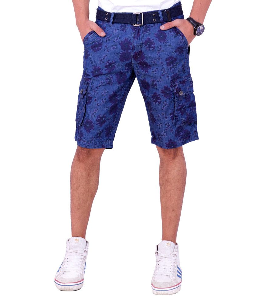 Origin Smart Blue Casual Fix Waist Patterned Cotton Shorts With Belt For Men  -  Or6239Blu