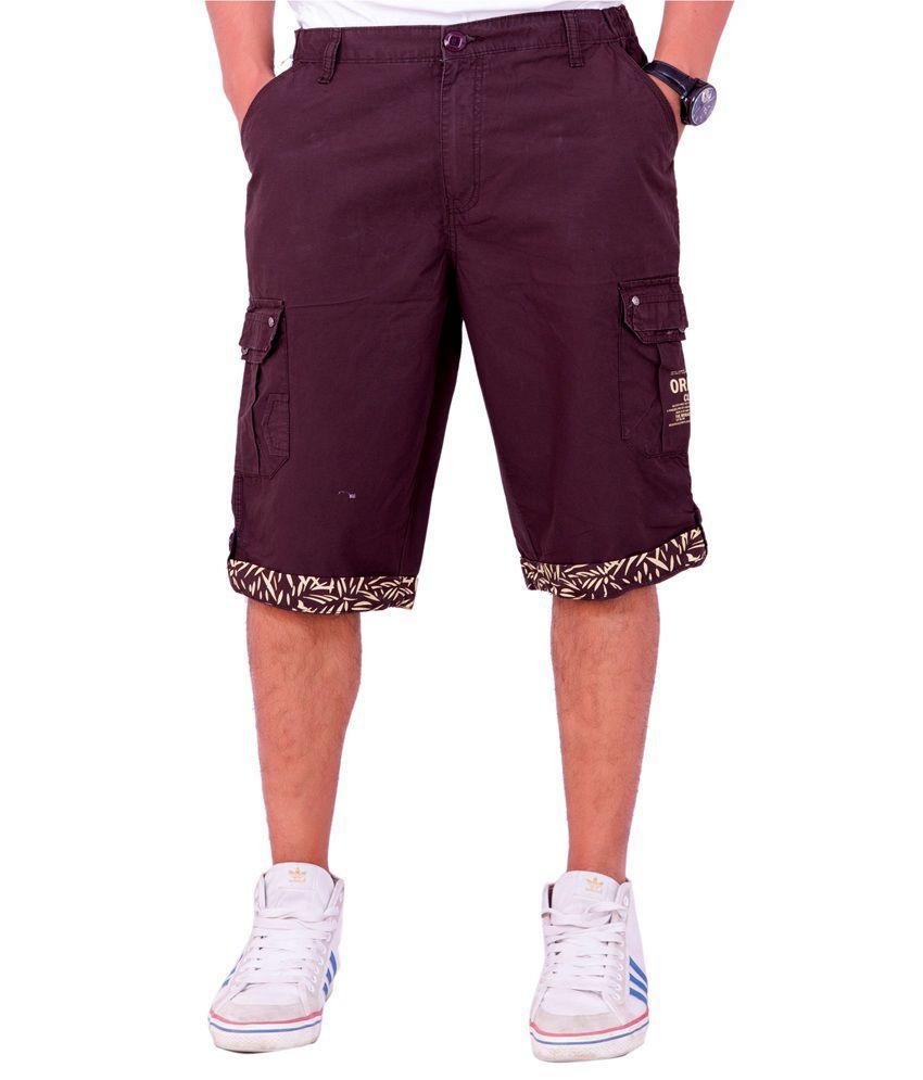 Origin Smart Maroon Casual Fix Waist  Cotton Shorts For Men  -  6186_Maroon