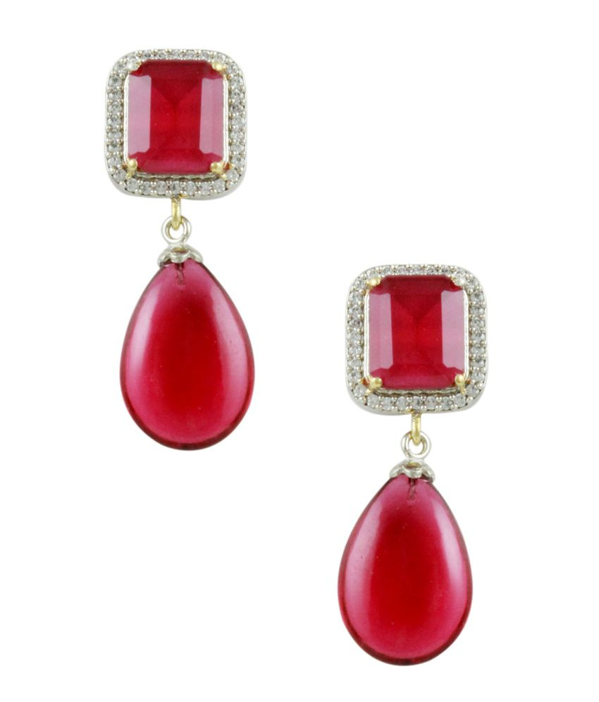 Orniza Designer Cocktail Earring in Pink Combination
