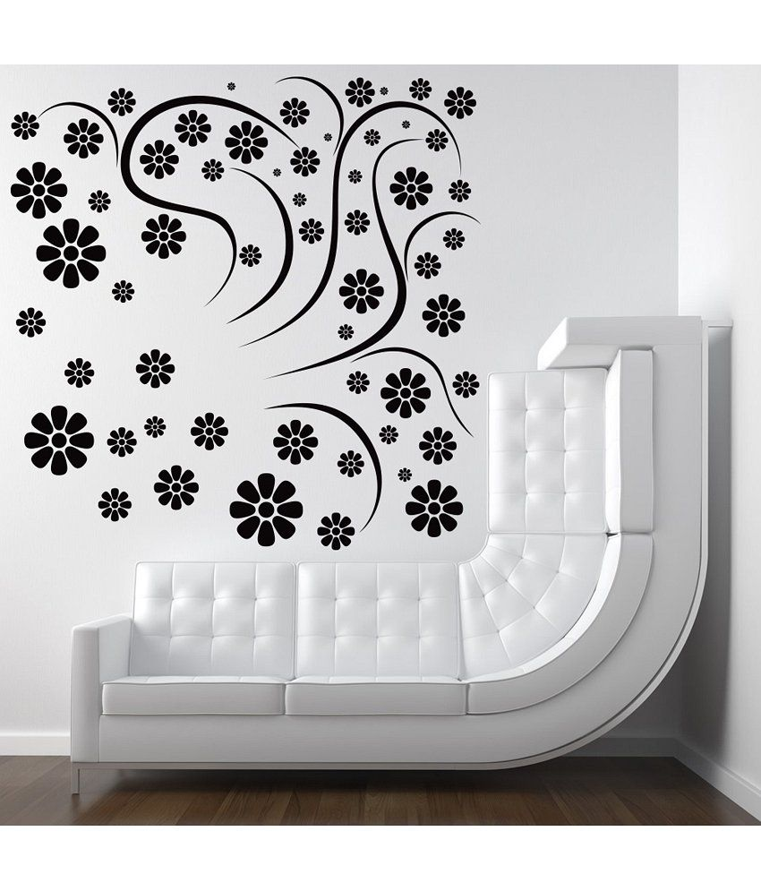 decor kafe rounded flowers floral wall decal