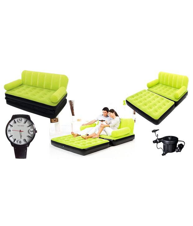 Eo Double Velvet Sofa Cum Bed Air Lounge Inflatable Green Colour
