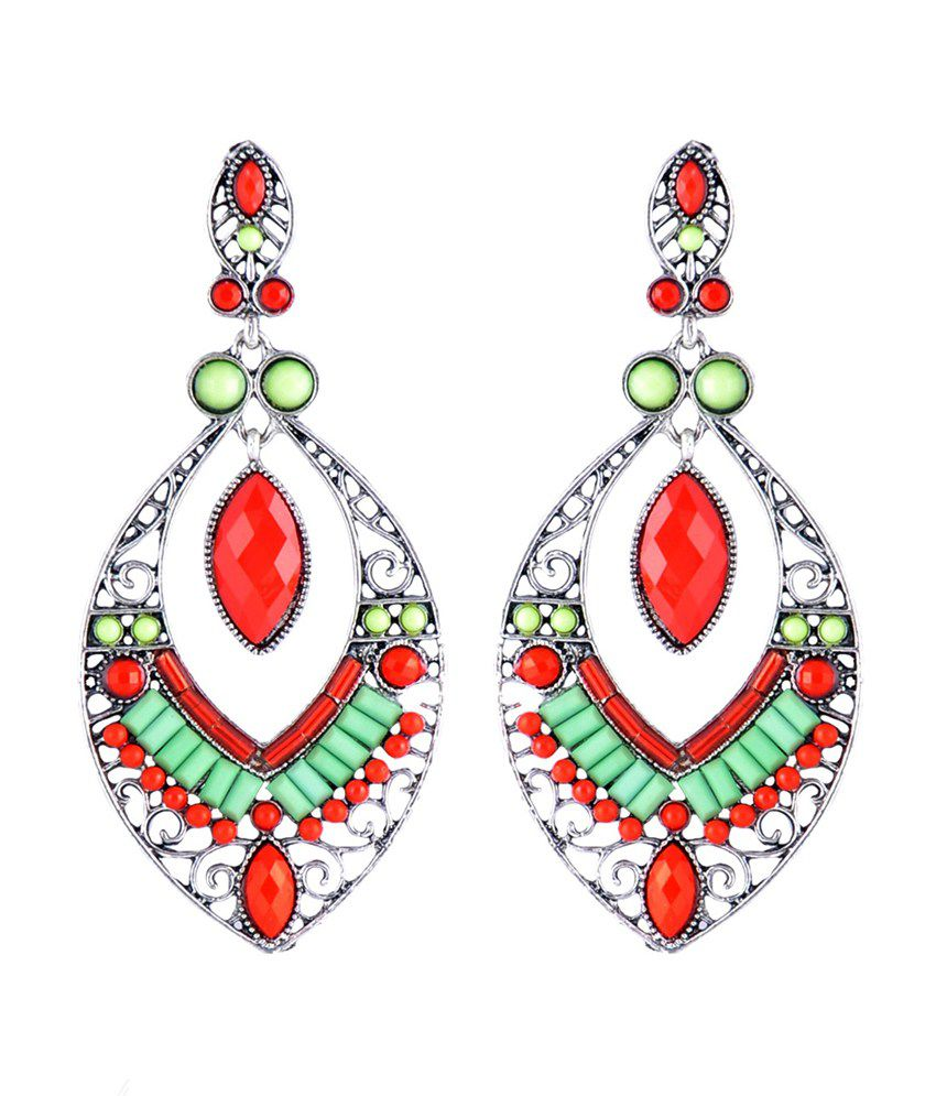 Stol'n Multicolour Antique Coloured Bead Drop Earrings
