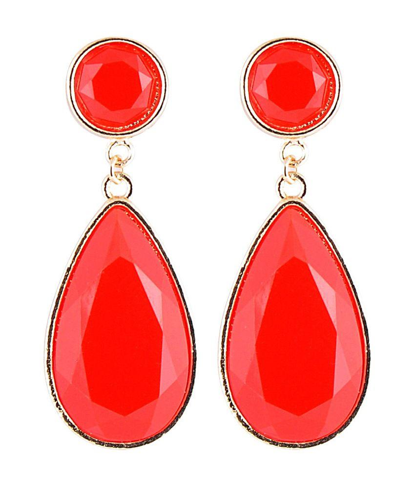 Stol'n Red Antique Coloured Bead Drop Earrings