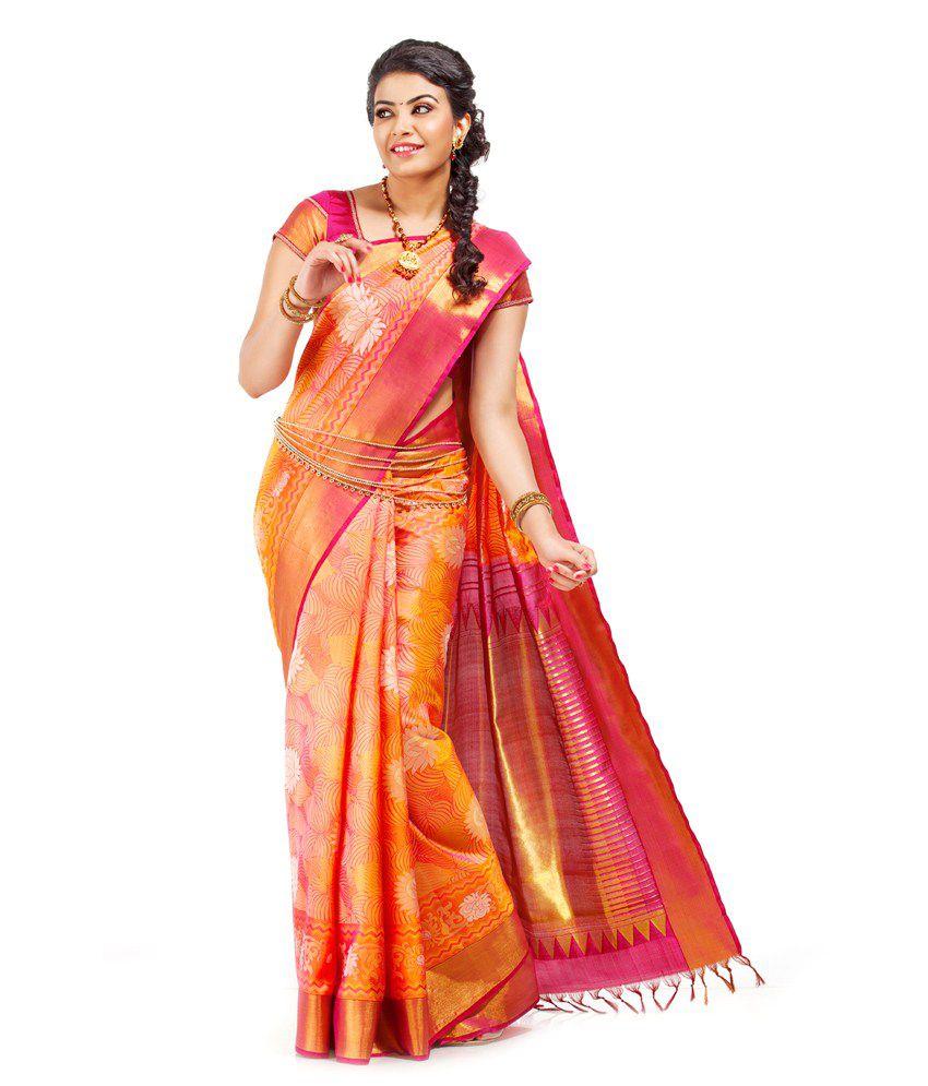 Thara Sarees Orange Silk Saree Buy Thara Sarees Orange