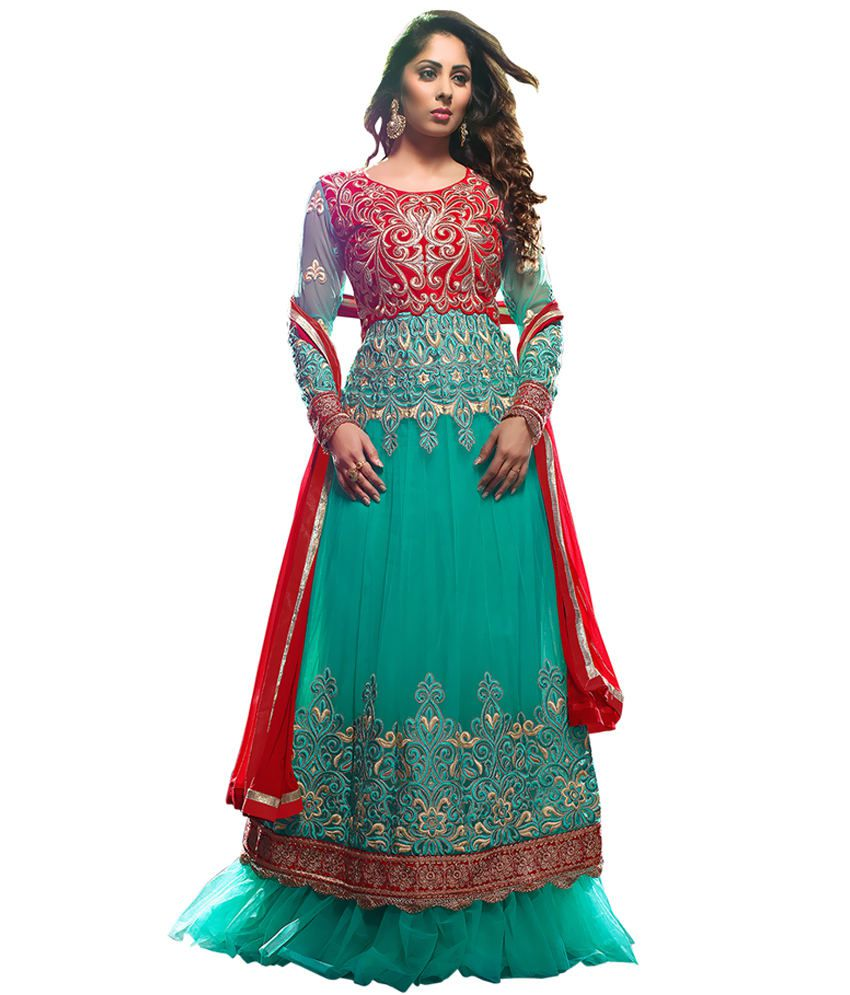 Vibes Green Georgette Unstitched Dress Material
