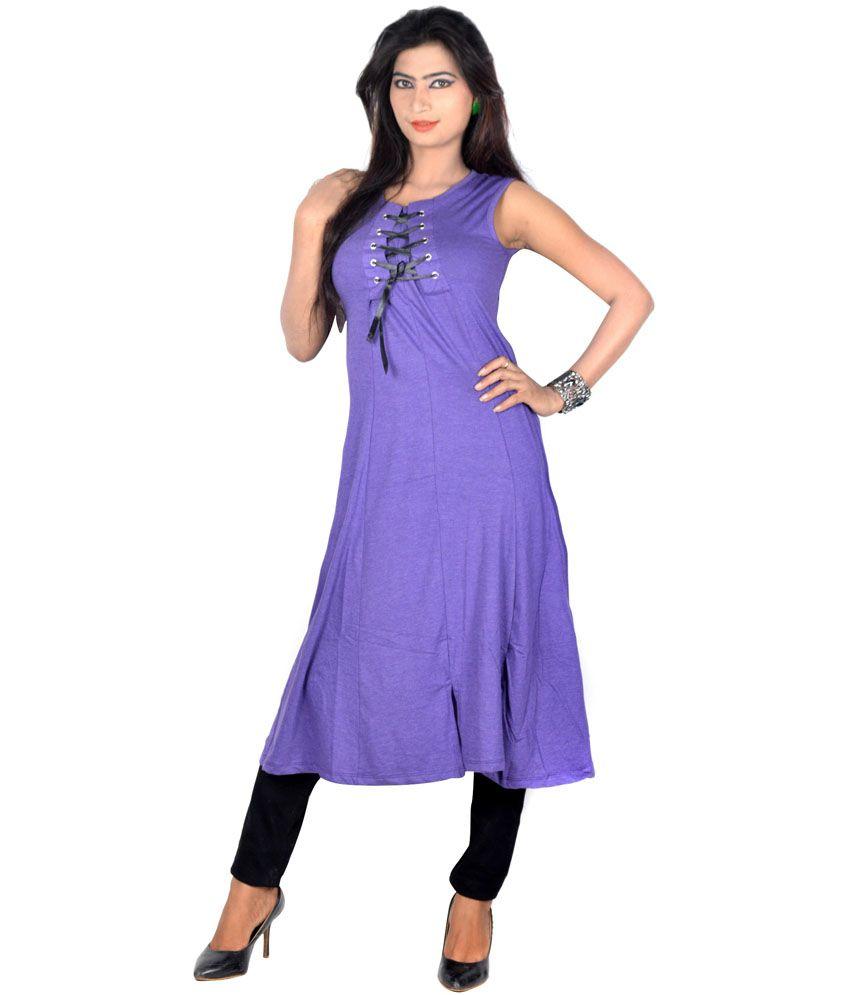 916315ebb4ad55 Vivaa Purple Solids Hosiery Round Neck Long Top for Women - Buy Vivaa  Purple Solids Hosiery Round Neck Long Top for Women Online at Best Prices  in India on ...
