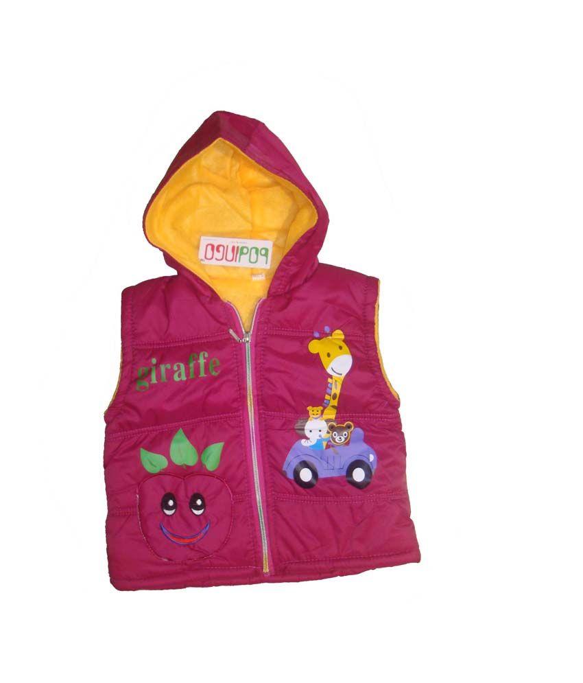 Bodingo Pink Synthetic Sleeveless With Hood Padded Jacket For Girls