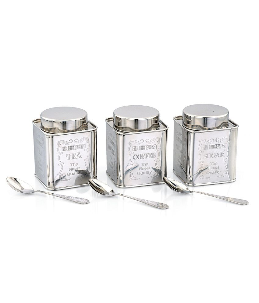 Silver Tea Coffee Sugar Canisters >> Klassic Vimal Silver Square Tea, Coffee & Sugar Canisters: Buy Online at Best Price in India ...
