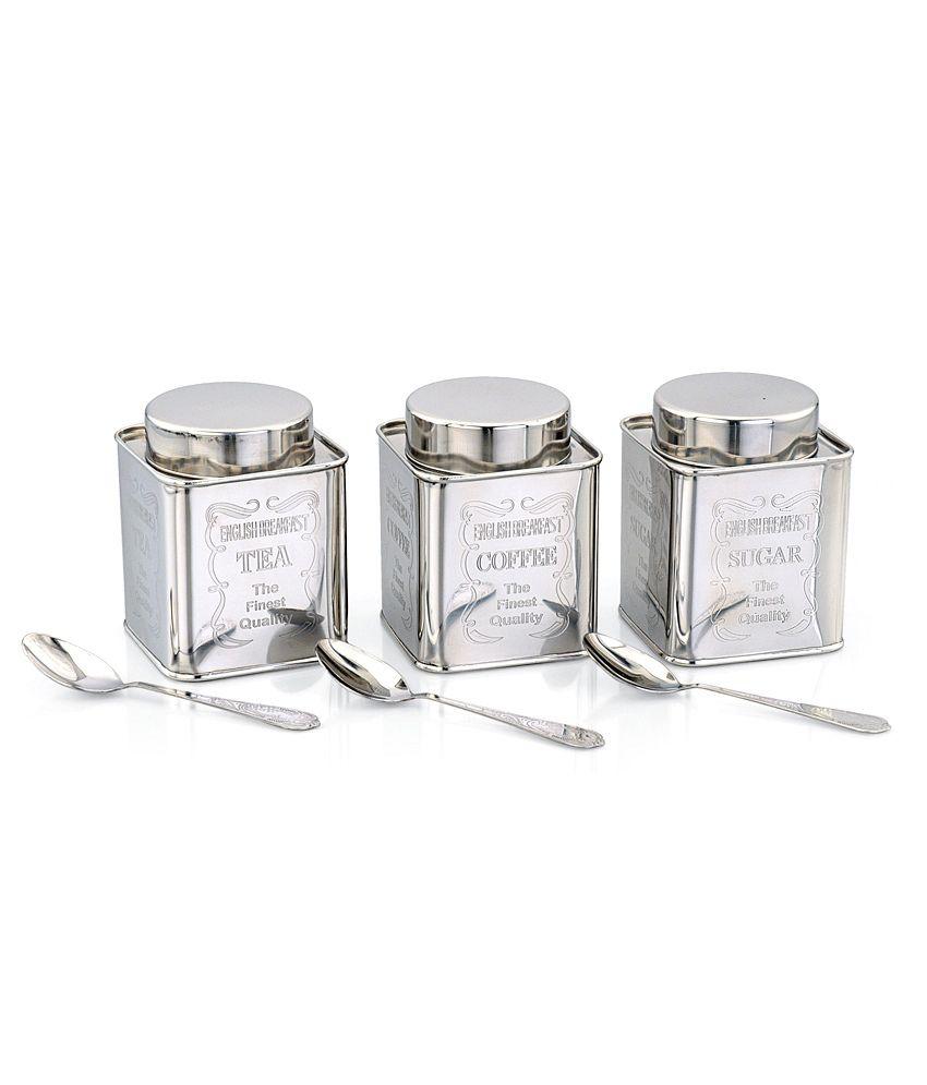 Klassic Vimal Silver Square Tea, Coffee & Sugar Canisters