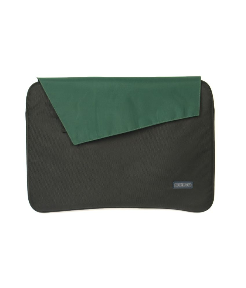 Protecta Flapped Laptop Sleeve For Laptops Up To 15.6 Inches (black & Sea Green)
