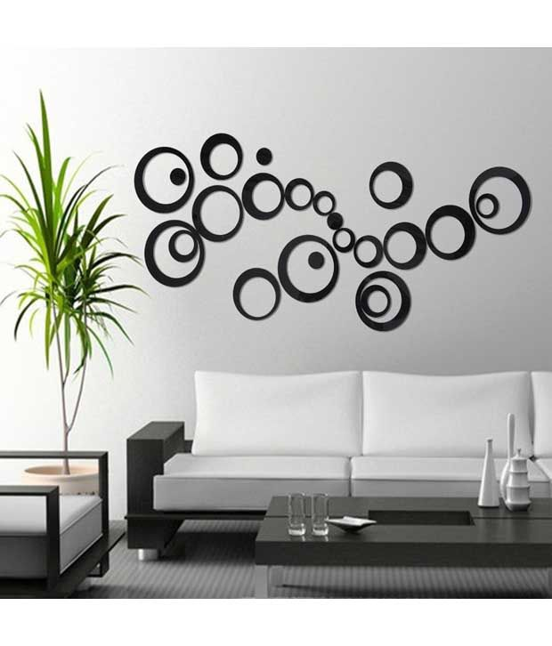 mm decors acrylic 3d black circle wall stickers 10 numbers - buy mm