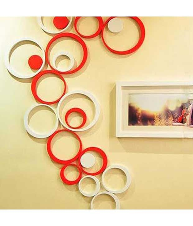 mm decors acrylic 3d red white circle wall stickers 10 numbers - buy
