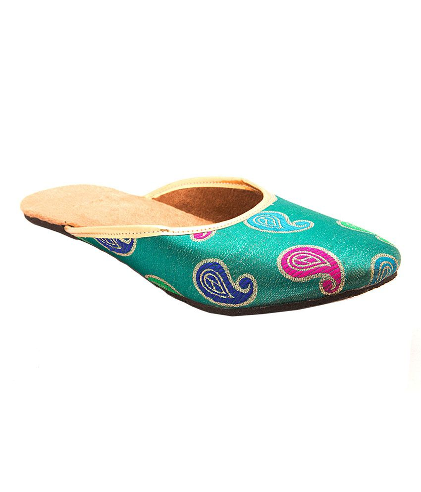 Myra Blue Back Open Women's Ethnic Pair Of Blue Slip On Flats