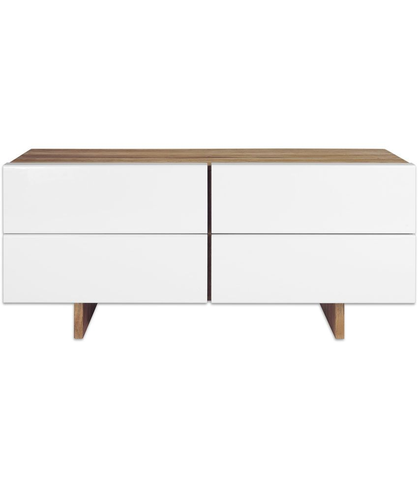 Silver Pine Brown Solid Wood Sideboard With White Drawers