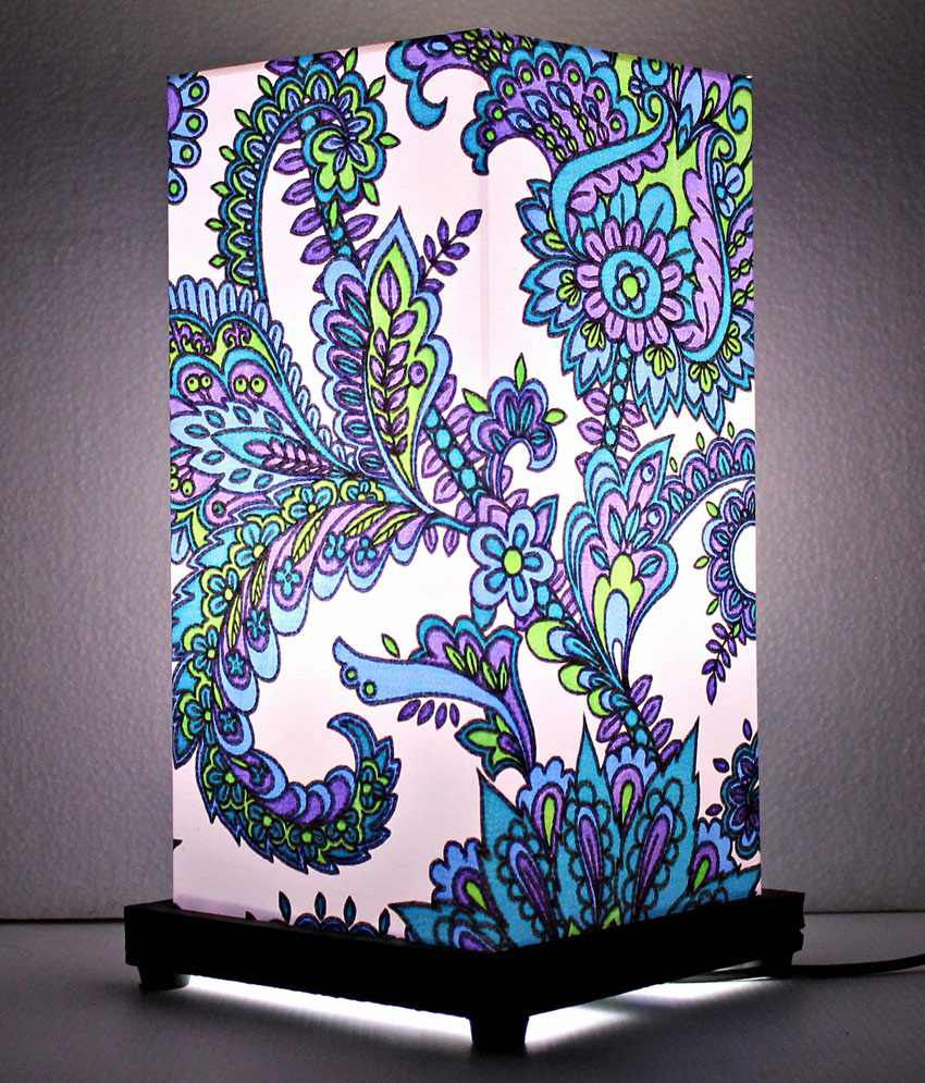 9 GIFTS Ethnic Blue Flowers 30 Acrylic Table Lamp