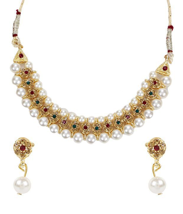 Mukawil Multi Pearls Necklace Set With Pair Of European Fashion Earrings