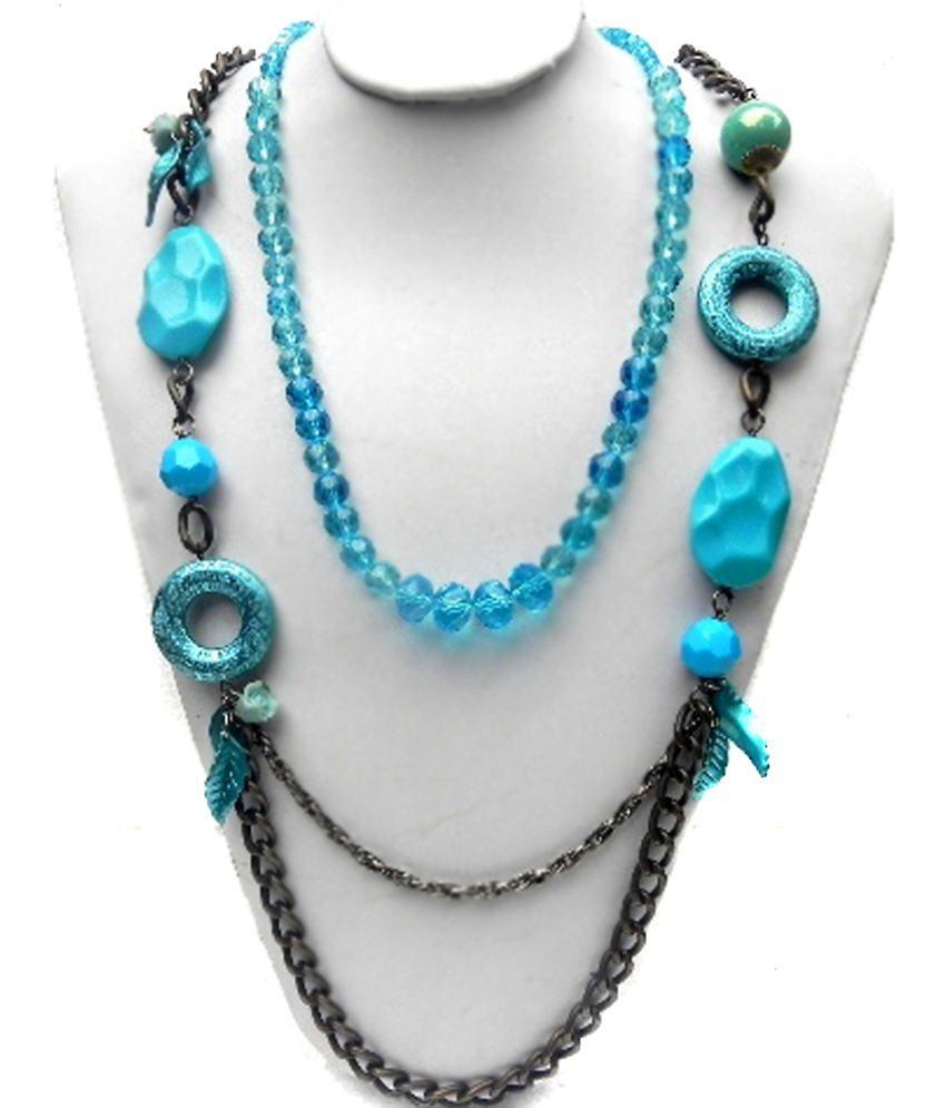 Rose Designer Bollywood Blue Necklace Set Of 2 Pcs