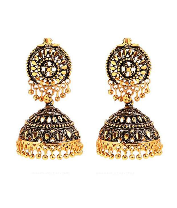 Antique Look Ethnic Gold Plated Jhumki By Goldnera