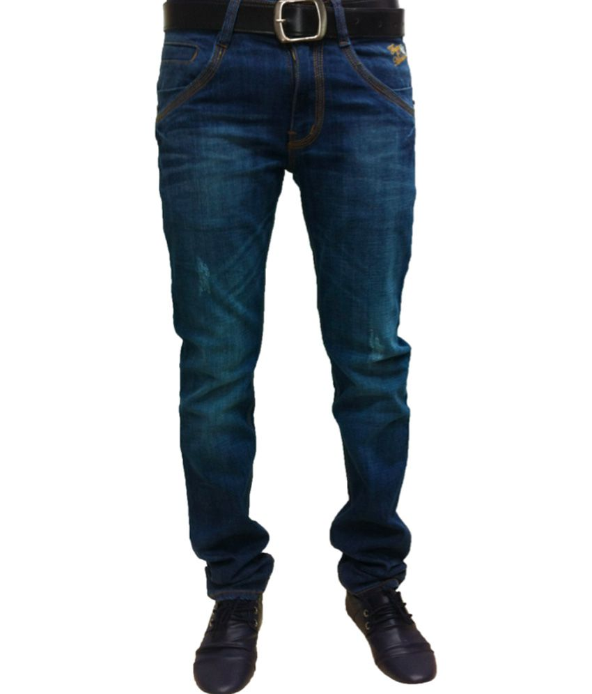 Flying Machine Blue Cotton Blend Slim Fit Jeans
