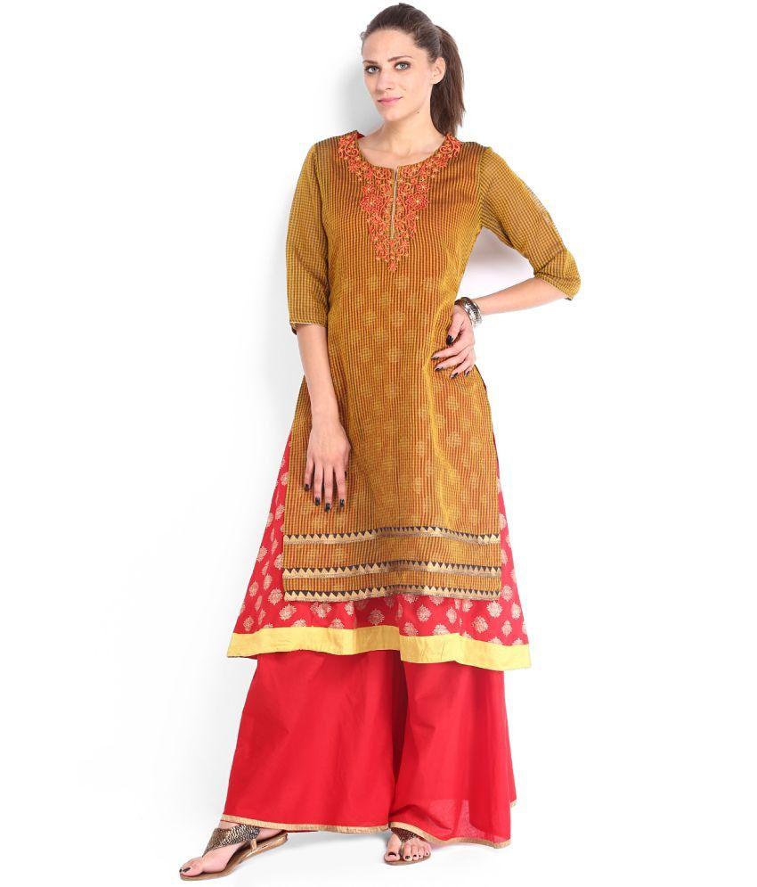Folklore Yellow Cotton Ethnic Kurta