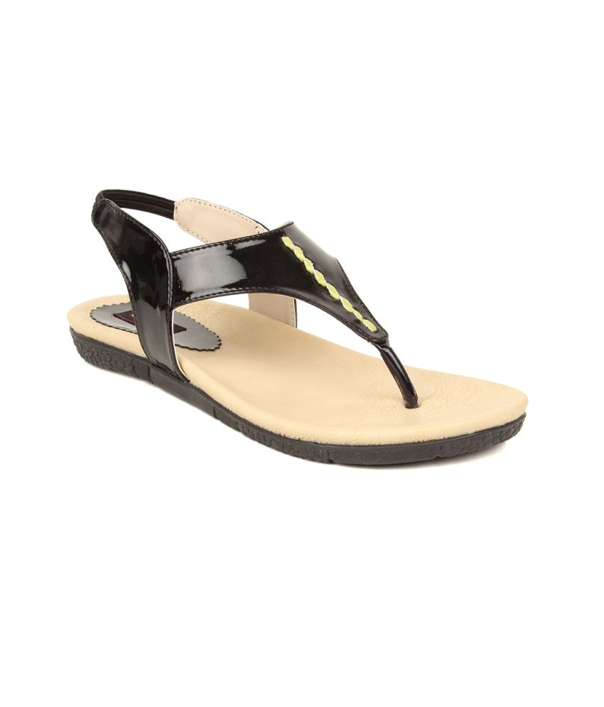 Elly Black Synthetic Patent Flat Sandals