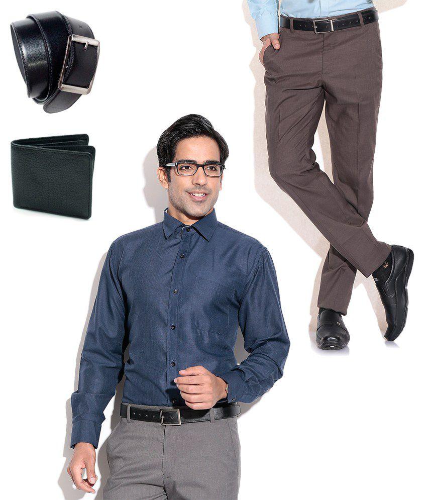 Fizzaro Combo of Brown Formal Trouser, Blue Shirt, Belt & Wallet