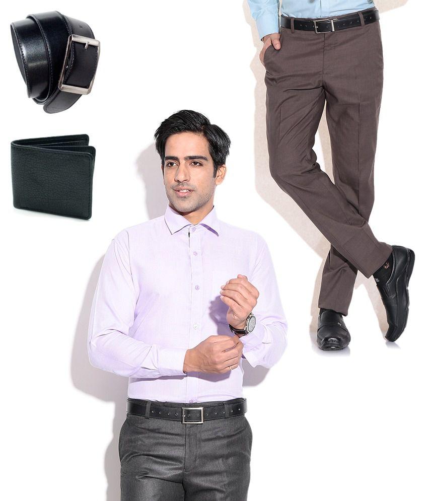 Fizzaro Fantastic Combo of Brown Formal Trouser, Shirt, Belt & Wallet