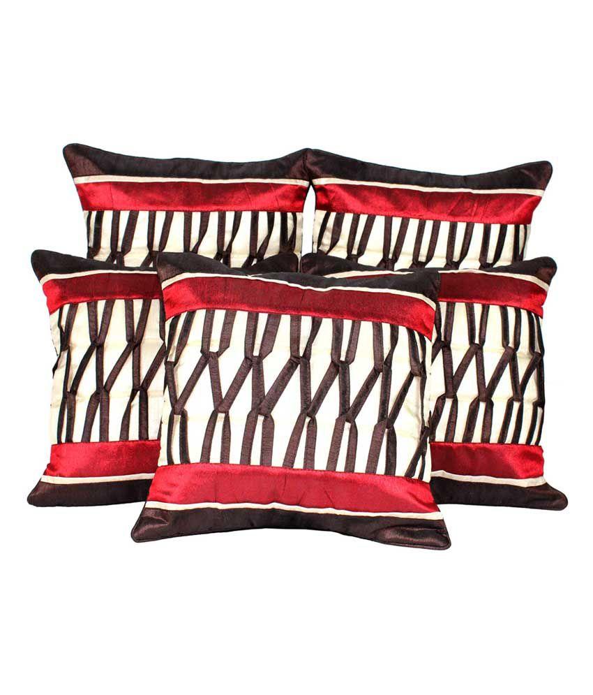 "Mysha Zig-zag Red Brown Designer Cushion Cover In Dupion Silk - Set Of 5"""