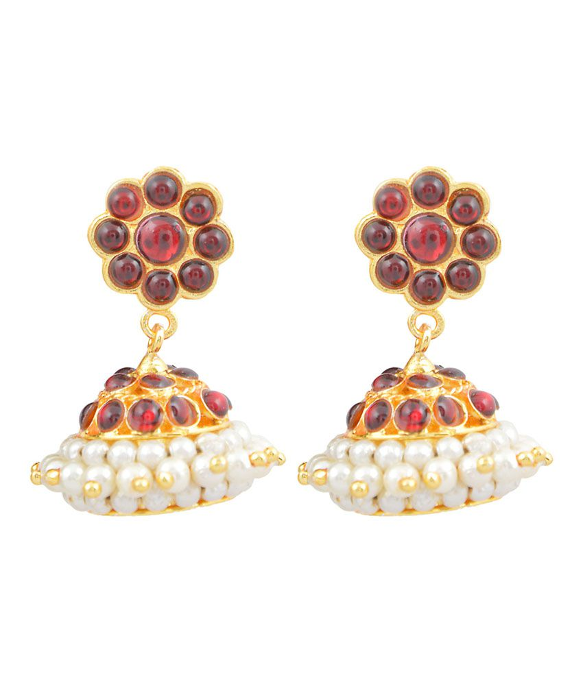 Shruthiumayal Multicolour Gold Plated Party Wear Push Back Jhumki